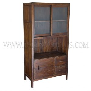 Colonial Burmese Art-Deco Teak and Glass Kitchen Cabinet